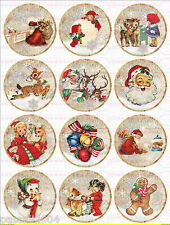 """12 Bügelbilder Nostalgie """" Weihnachten Santa Kreise """" auf A4  NO. 989 Vintage"""