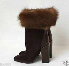 NEW YSL mink fur cuff and Ostrich-heel brown suede ankle boots EU 37/ UK4