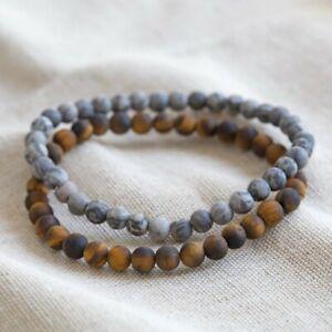 Natural Stone Red Agate Gemstone 6mm Round Beads Stretch Bracelet Unisex Jewelry