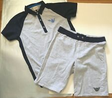 Armani Junior Grey/Navy Sweat Shorts & Navy/Grey/Blue Accent S/S Polo Sz. 14A