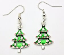 Hand Made Enamel Christmas Tree Earrings HCE218