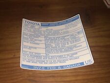 1988 Toyota Pickup Truck/4runner Emissions Decal Repro Sticker Fed 3VZ-E V6 #U5