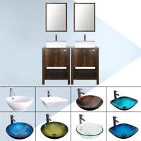 "48"" Bathroom Vanity Cabinet W/ Mirror Vessel Sink Set Faucet Drain Combo Brown"