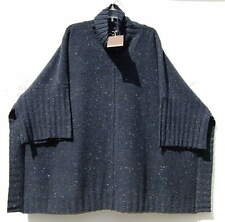 NWT Eskandar NAVY TWEED Handloomed Cashmere Wool CowlNk Poncho Sweater (1) $1575