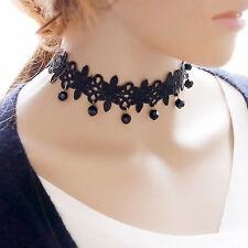 Beste Vintage Gothic Black Lace Choker Collar Bib Necklace Charm Pendant Jewelry