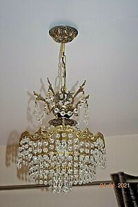 FRENCH OLD CRYSTAL CHANDELIER 20 ins drop 15 ins diameter SUPERB