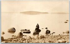 Traverse City, MI RPPC Photo Postcard FORD (Power) ISLAND Woman on Rock c1910s