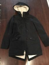 HOLLISTER Womens Jacket, XS, Sherpa Line with Hood, BLACK, Toggle Buttons, EUC