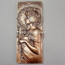 AUTUMN LEAVES - Art Nouveau Bronze Mucha Wall Plaque