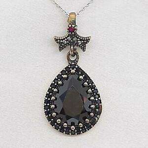 Deco 8.00ctw Spinel, Ruby & Diamond Cut Sapphire 14K Yellow Gold 925 Pendant