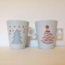 LOT of 2 Bugatti Italy per Parmalat Holiday Christmas White Coffee Mug Cup
