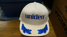 Vintage trucker hat mesh uniden 70s 80s white and blue snap back snapback