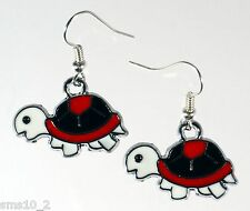 Hand Made Red, Black & White Enamel Turtle Earrings HCE204