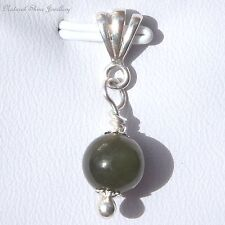 Cute Pendant Natural Nephrite Jade 4.2 CT 925 Sterling Silver Round 8 mm