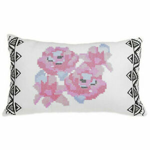 New Blink Geo Floral Throw Pillow Size 12 in x 20 in White Black Pink