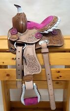 "10"" Youth Mini Pony Western Leather Saddle with Pink or Black Suede Seat"