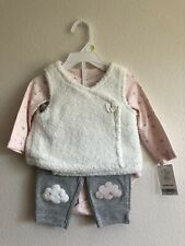 Nwt Baby Girl Carter's Pink/Grey/White 3-Piece Vest Set (Size: 3 Months)