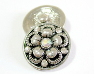 Click System Druckknopf Schmuckgestaltung Metall Blume Glitzer 18 mm