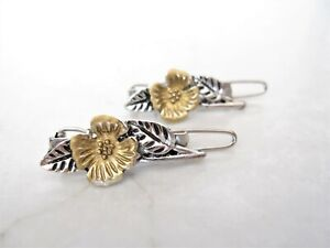 Extra small metal silver bronze flower leaf hair pin clip barrette (set of two)