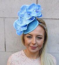 Sky Light Blue Sinamay Orchid Flower Pillbox Hat Fascinator Races Ascot 50s 5163