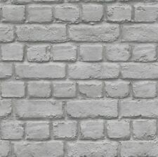 Rasch 226720 3D Stone Brick Wall Effect Feature Wallpaper Grey