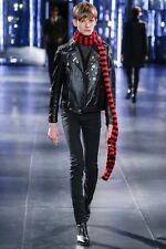 Saint Laurent Scarf Extra Long in Red and Black Virgin Wool