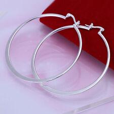 Hot 925Sterling Silver Large Flat O Circle Shape Hoop Earrings US Ship