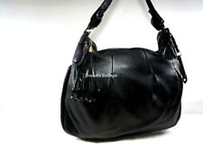 COLE HAAN Black Pleated Leather Hobo Large Braided Shoulder Tote Shopper  VGUC