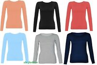 Childrens Kids Long Sleeve Round Neck Top Dance Plain Basic Tshirt Tops 2-13