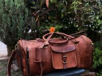 Bag Leather Travel Men Luggage Gym S Vintage Duffle Weekend Duffel Shoulder New