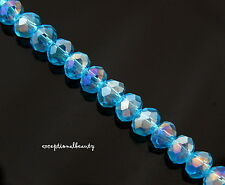 140 Celestial Crystal Faceted Aqua Blue AB Tiny 4x3mm Rondelle Spacer Beads
