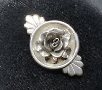 Vintage Art Deco Signed JEWELAR Sterling Silver Rose Bloom Brooch