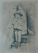 Carl BLOCH 1868.th 2 original Etching. roman boy on stairs. Italy. Rome.