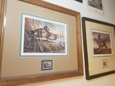 """Spring Courtship"" John C Green PRINT & 1990 SOUTH DAKOTA STAMP Ducks Unlimited"