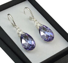 925 SILVER EARRINGS LEAF 22mm PEAR Violet CAL CRYSTALS FROM SWAROVSKI®