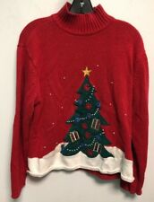 Holiday Ugly Crew Sweater Party Crystal Kobe XL Red Christmas Tree Vintage Bead