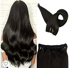 "Moresoo 100% Human Hair. Halo extensions  20"" #1/black/100gr/virgin/remy"