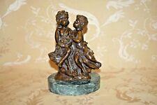 Antique Auguste Moreau Signed Bronze Sculpture Children w/ Roses on Marble Base