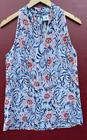 Cabi Shirt XS Floral Stem Tank Top White Pink Blue Sleeveless Blouse 5537