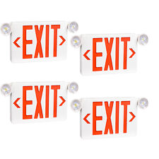 4pack Red Led Exit Signul Listed Emergency Light Dual Lamp Abs Fire Resistance