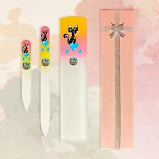 "Premium Gift Set""Cat"" Glass Nail Files & Glass Foot File in a Gift Box - 3pcs Ma"