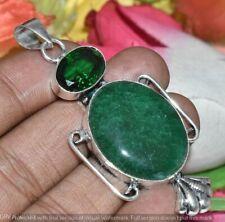 Green Aventurine Chrome Diopside Gemstone Pendant 925 Silver Overlay U272-A191
