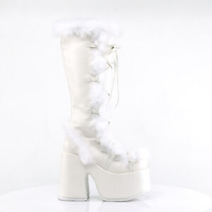 Demonia 311 Camel Stacked White Mammoth Platform Goth Punk Knee Boots NY Restock
