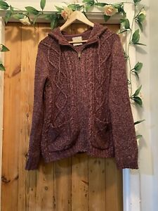 FAT FACE WINTER BERRY LUCIE KNIT HOODIE JUMPER TOP SIZE 10