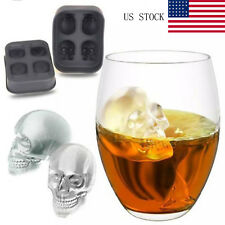 Skull Shape 3D Ice Cube Mold Maker Bar Party Silicone Trays Chocolate Mold US