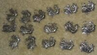 Lot of 5 SILVER TONE  Vintage MJ Signed  Rooster Pendant