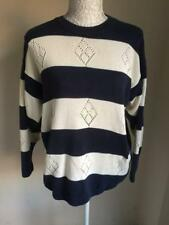 Womens Navy Blue Striped Jumper Size 16-18 (7)