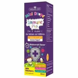 Natures Aid Mini Drops Immune + Elderberry Zinc & Vitamin C Infant Children 50ml