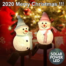 Snowman LED Solar Garden Stake Lamp Outdoor Christmas Ground Path Walkway Lights