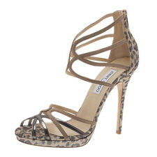 Jimmy Choo Metallic Beige and Leopard Suede Florida Sandals Size 39.5 NEW